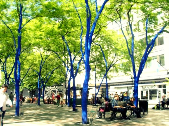 downtown blue trees